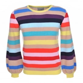 Rainbow Stripe Balloon Sleeve Sweater