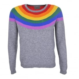 Rainbow Yoke Cashmere Sweater