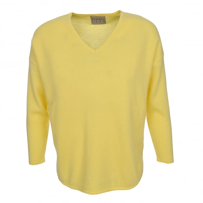 Jumper 1234 Shirt Hem Vee Sweater in Lemon