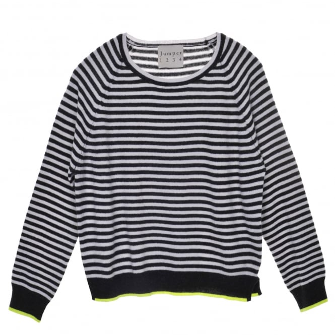 Jumper 1234 Tipped Narrow Stripe Charcoal/White/Yellow