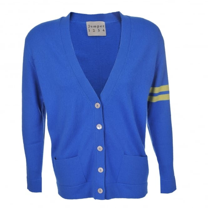 Jumper 1234 Varsity Cardi in Sky & Lemon