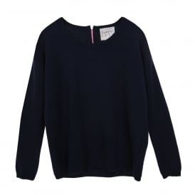 Zip Back Cashmere Sweater Navy/Pink