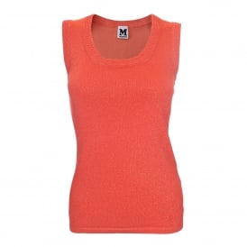 Orange Lurex Sleeveless Top