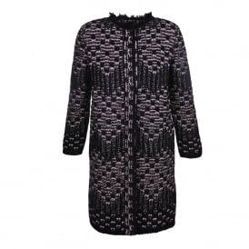 Pink and Black Lurex Knitted Coat