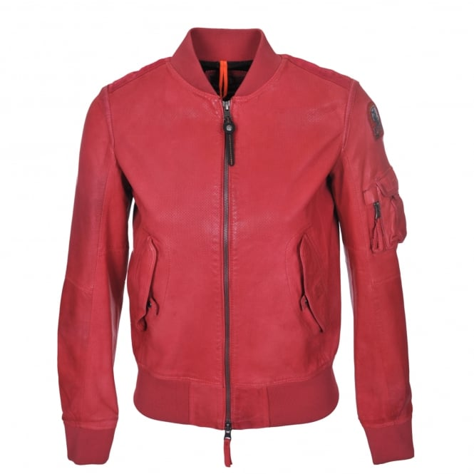 Parajumpers Fleur Leather Jacket in Raspberry
