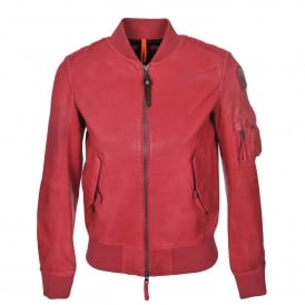 Fleur Leather Jacket in Raspberry