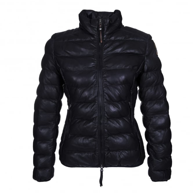 Parajumpers Jodi Leather Quilted Jacket in Navy