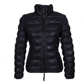 Jodi Leather Quilted Jacket in Navy