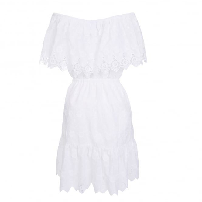 Perseverance London Daisy Crochet Anglaise Off-Shoulder Dress in Off White