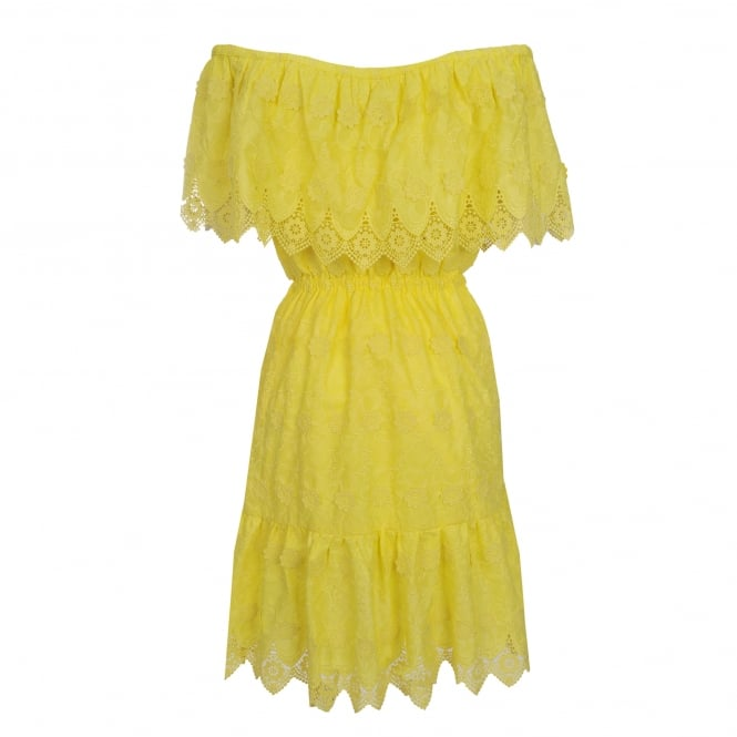 Perseverance London Daisy Crochet Anglaise Off-Shoulder Dress in Soft Yellow