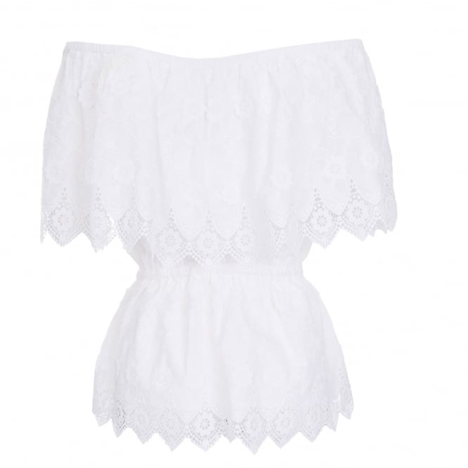 Perseverance London Daisy Crochet Anglaise Off-Shoulder Top in Off White