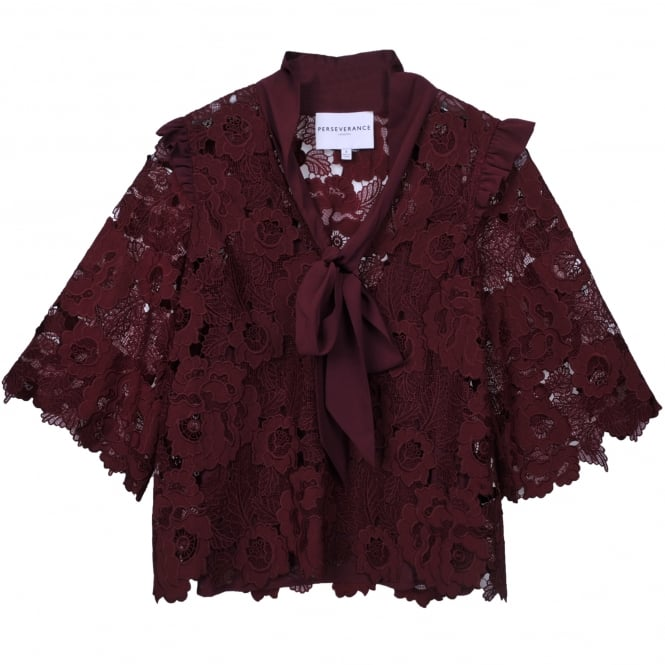 Perseverance London Floral Cut Out Tie Neck Blouse