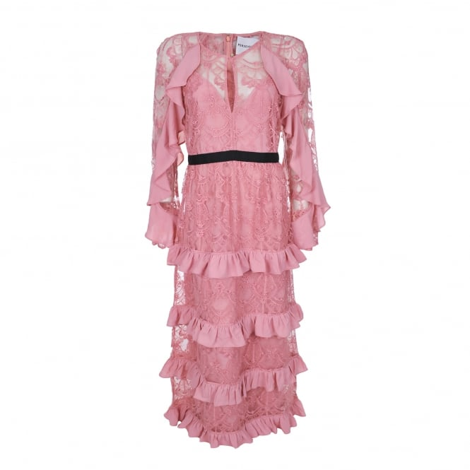 Perseverance London Floral Lace Ruffle Dress in Pink