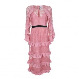 Floral Lace Ruffle Dress in Pink