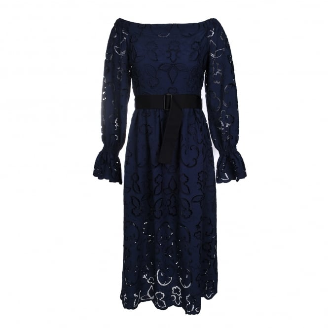 Perseverance London Lily Cut Out Embroidered Midi Dress in Navy