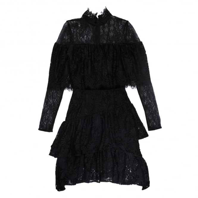 Perseverance London Paisley Lace Ruffle Dress in Black