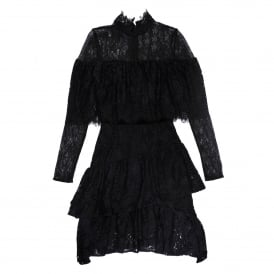 Paisley Lace Ruffle Dress in Black