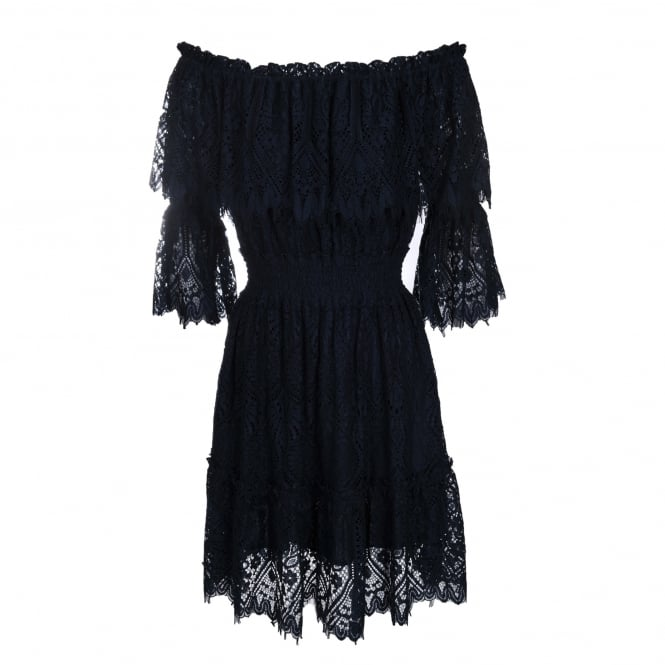 Perseverance London Peacock Doily Lace Off-Shoulder Dress in Navy