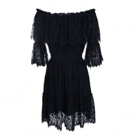 Peacock Doily Lace Off-Shoulder Dress in Navy