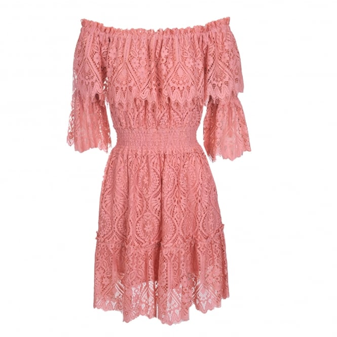 Perseverance London Peacock Doily Lace Off-Shoulder Dress in Peach