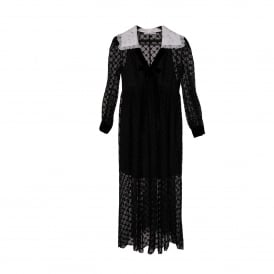Black Lace Maxi Dress with White Collar