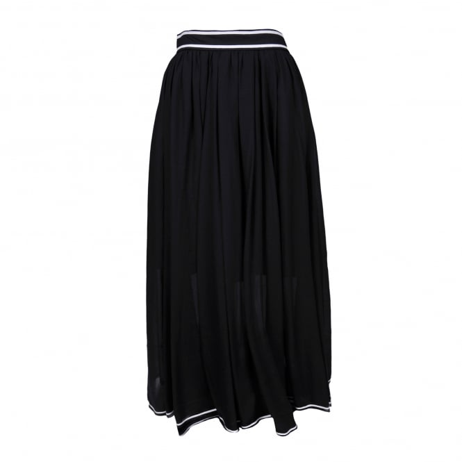 Philosophy Di Lorenzo Serafini Black Pleat Maxi Skirt with White Trim