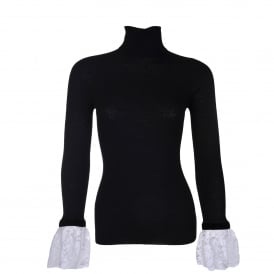 Black Roll Neck with Lace Cuff