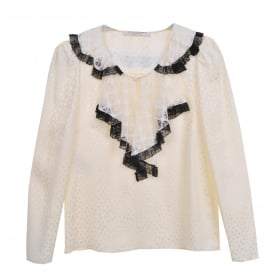 Cream Blouse with Cream & Black Lace Trim