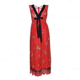 Floral Print Maxi Dress in Red