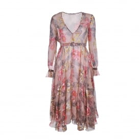 Floral Print Silk-Chiffon Dress