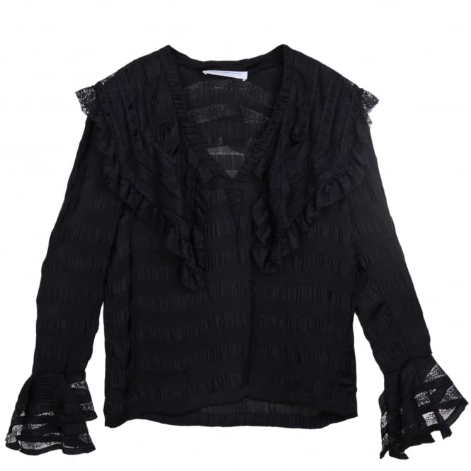 Philosophy Di Lorenzo Serafini Frill and Lace Blouse in Black