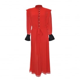Pleated Maxi Dress in Red