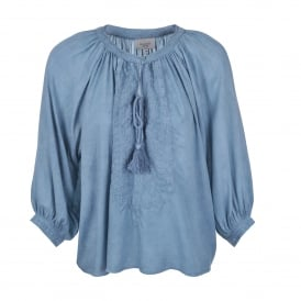 Abby Embroidered Top in Blue