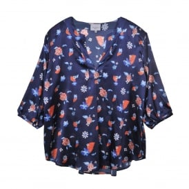 Marine Folk Top in Flower Blue