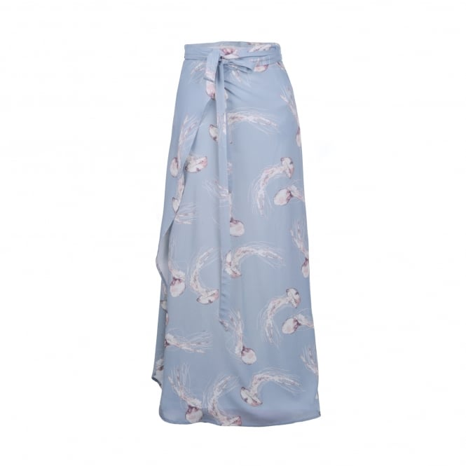Primrose Park Pip Wrap Skirt in Pale Blue Jelly Print