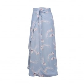 Pip Wrap Skirt in Pale Blue Jelly Print