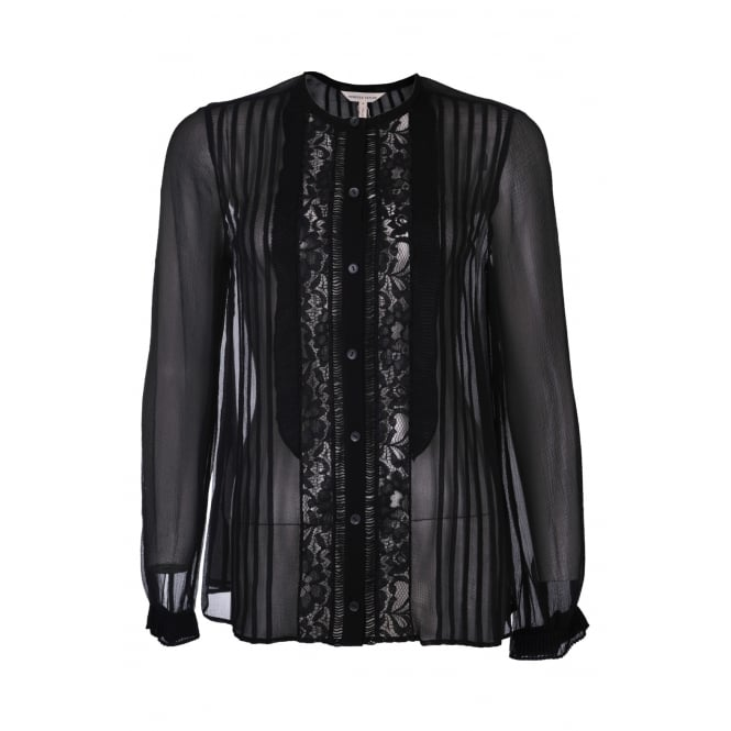 Rebecca Taylor Black Silk and Lace Top