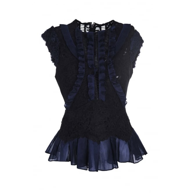 Rebecca Taylor Navy and Black Lace Top