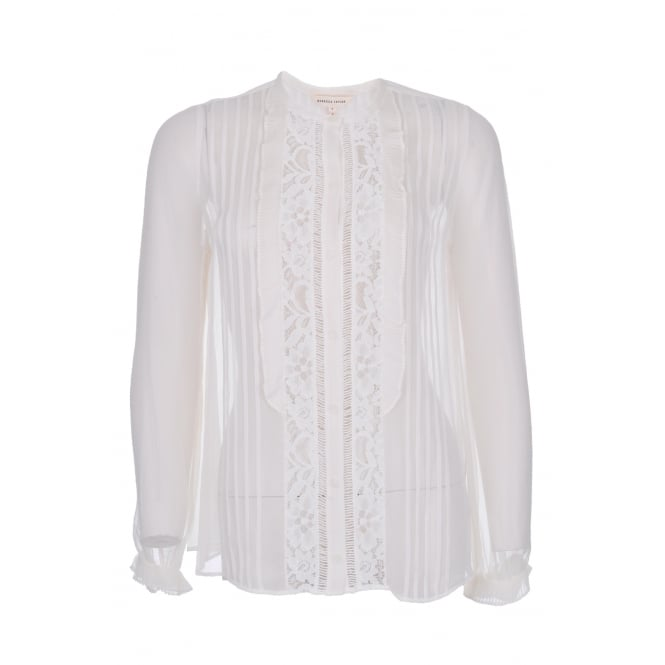 Rebecca Taylor Silk and Lace Top in Chalk