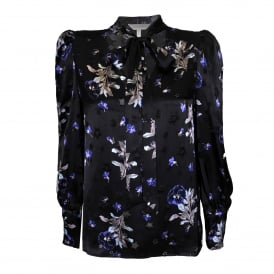 Violet Flower Top in Black