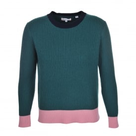 Ribbed Block Sweater Green
