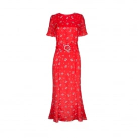 Joanne Red Ditsy Thorn Dress