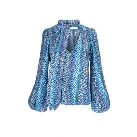 Kate Blouse in Metallic Blue Wave