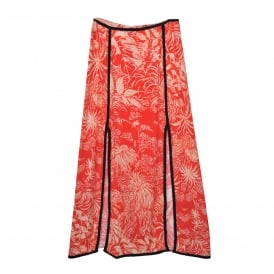 Thalia Midi Skirt in Red Oriental