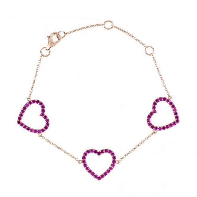 Rosie Fortescue Jewellery Rose Gold Heart Trilogy Bracelet with Pink Stones