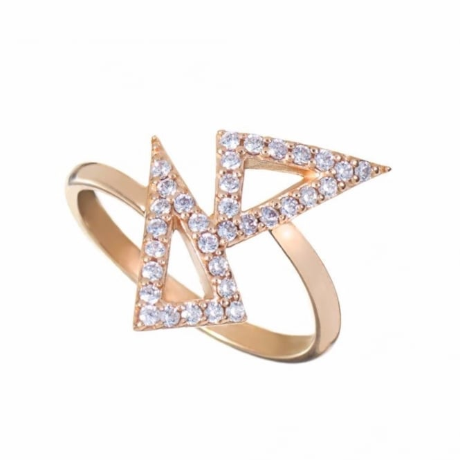 Rosie Fortescue Jewellery Rose Gold Kite Ring with White Stones
