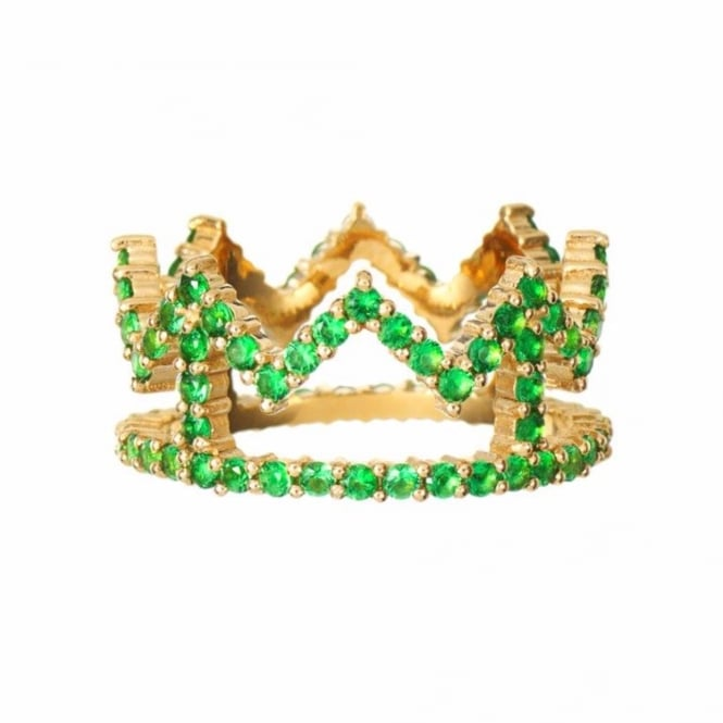 Rosie Fortescue Jewellery Rosie Fortescue Gold Crown Ring with Green Stones