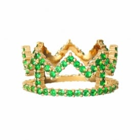 Rosie Fortescue Gold Crown Ring with Green Stones