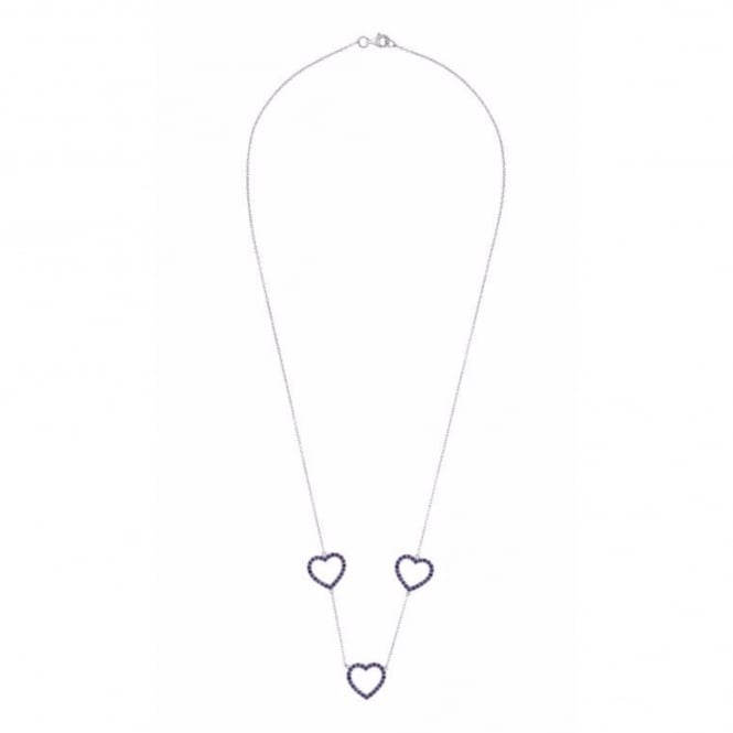 Rosie Fortescue Jewellery Silver Heart Trilogy Necklace with Blue Stones