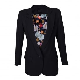 Long Notched Collar Blazer in Black